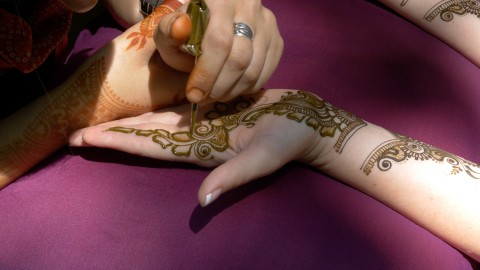 Brides is having her henna done prior to her wedding at Jay Peak