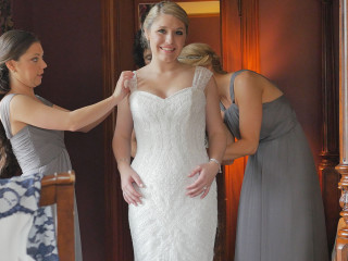 Bride gets ready at the Castle in Cavendish, VT