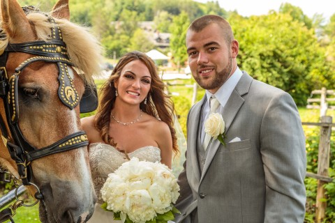 Wedding party poses with horse and carriage and Von Trapp family lodge. Click here to see more images of this wedding