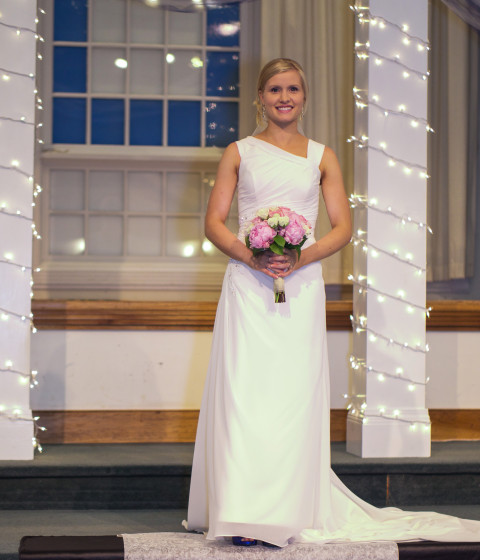 Bride poses in Church