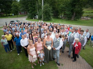 Vermont Wedding party outside Church near Topsham