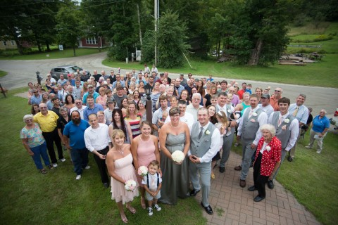 A typical central Vermont wedding with almost the entire town out to see the couple following the ceremony