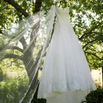 A bridal dress in the trees!
